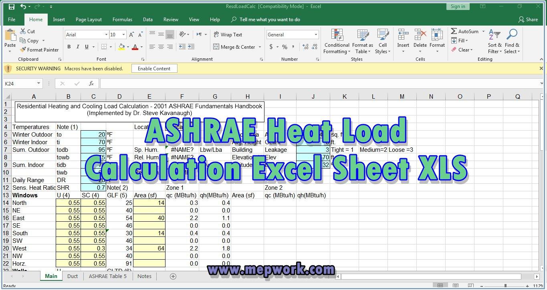ashrae heat load calculation pdf