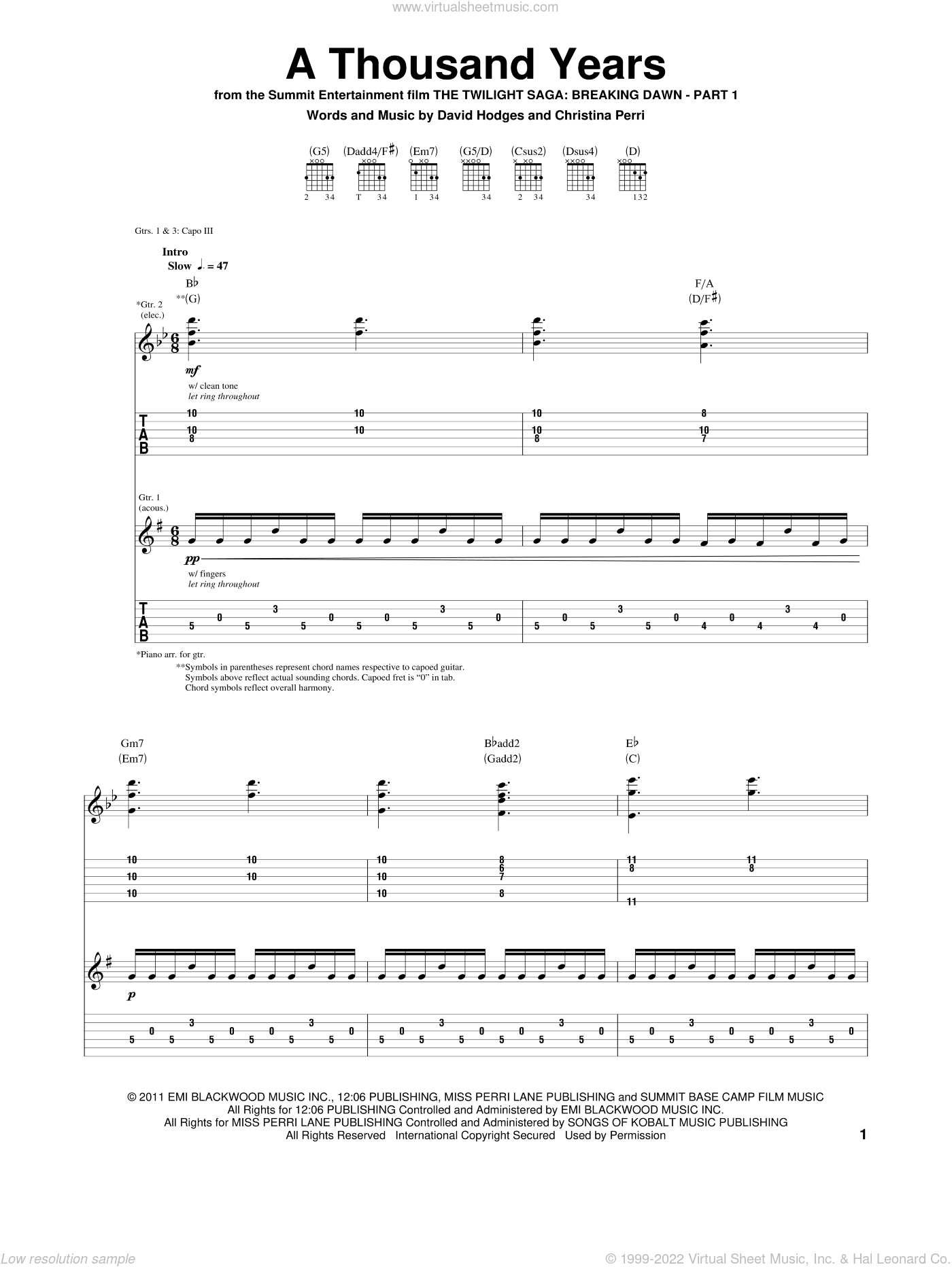 a thousand years guitar tab pdf