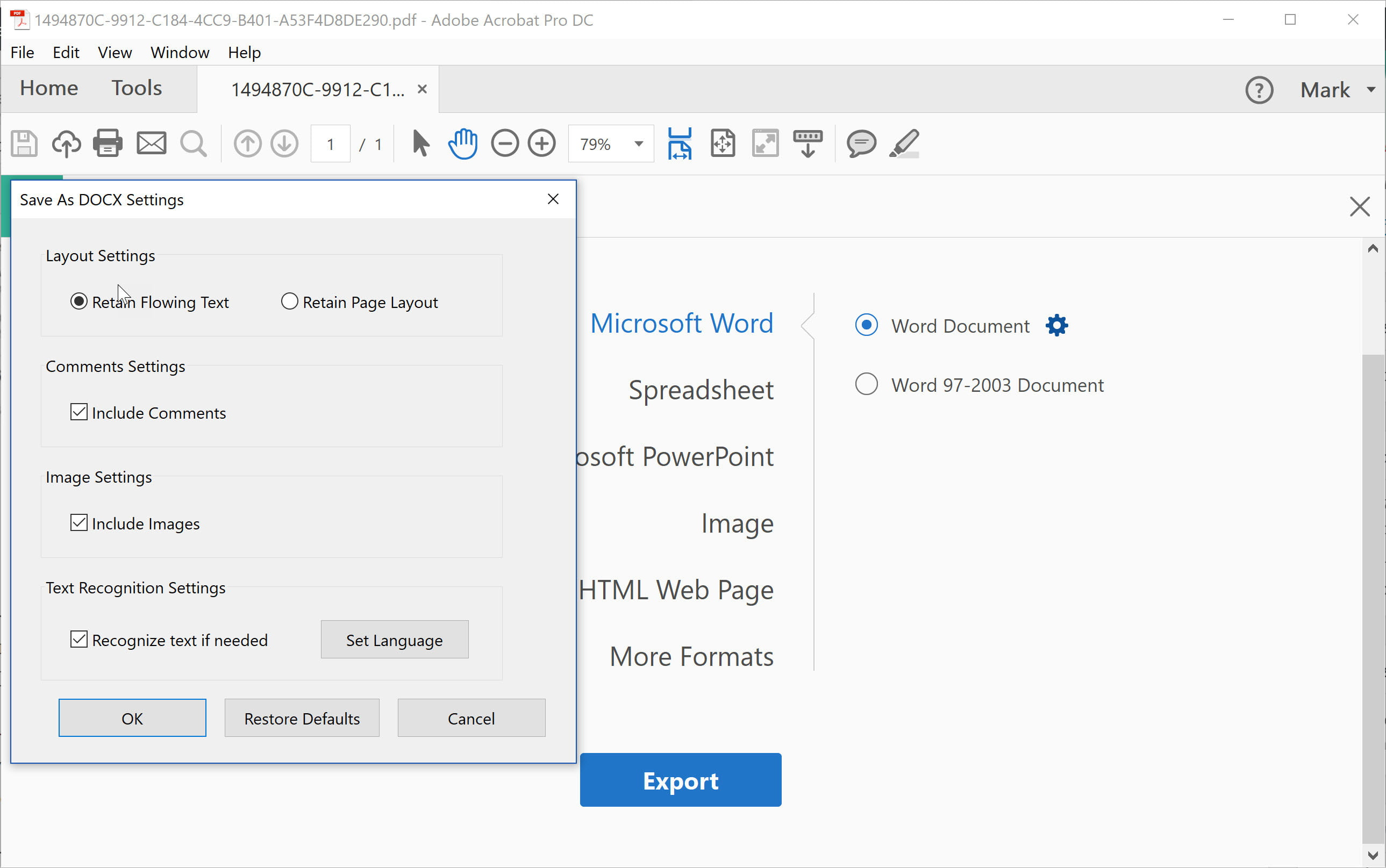 adobe export pdf to word online