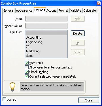 adobe pdf form combo box