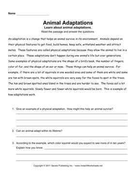 animal adaptations worksheets 5th grade pdf