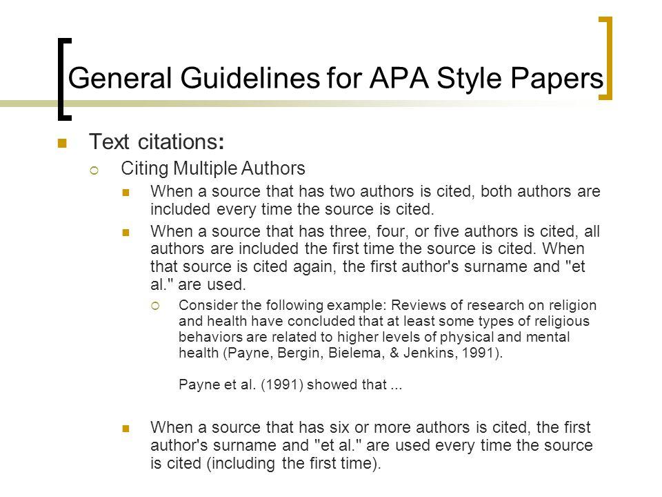 apa referencing guide et al
