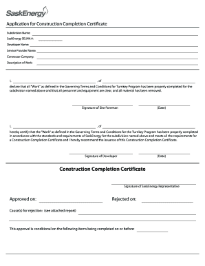 application for work completion certificate