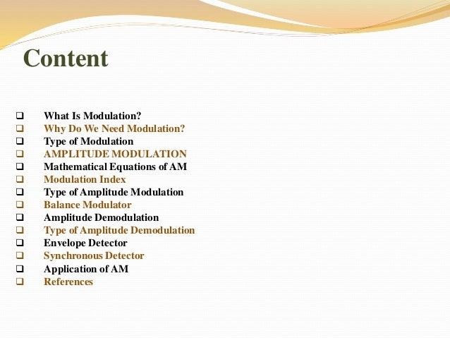 application of modulation and demodulation