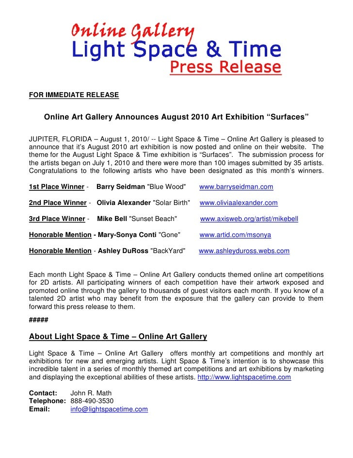 art exhibition press release sample