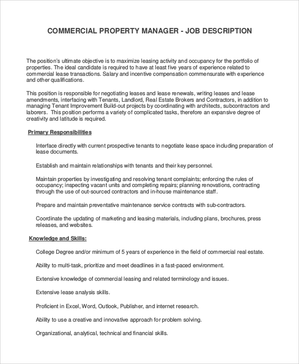assistant property manager job description sample