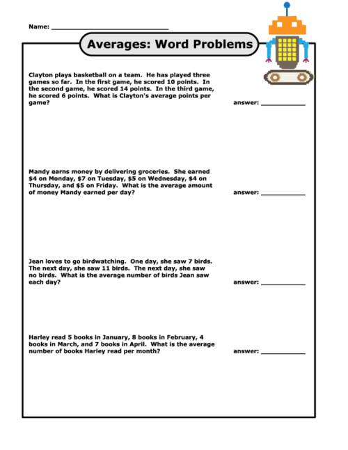 average word problems grade 7 pdf
