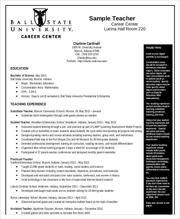 curriculum vitae samples for teachers pdf