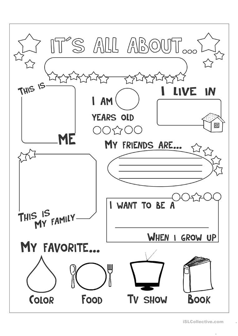 all about me worksheet free pdf kindergarten