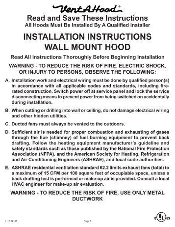 baumatic cooker hood installation instructions