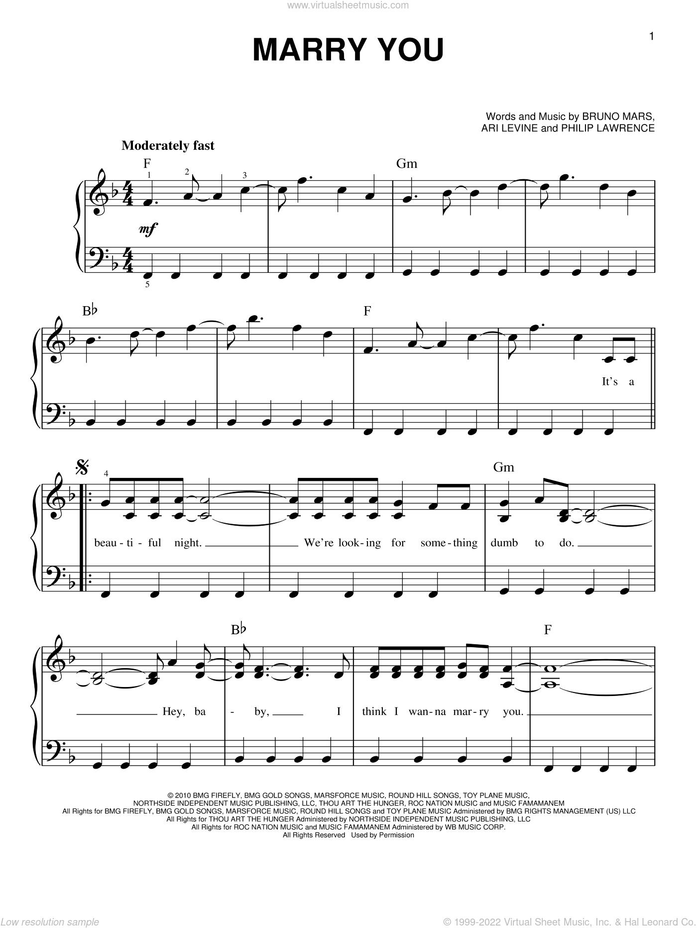 bruno mars piano sheet music pdf free
