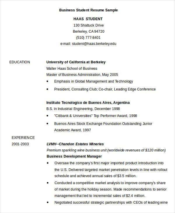 business cv format pdf