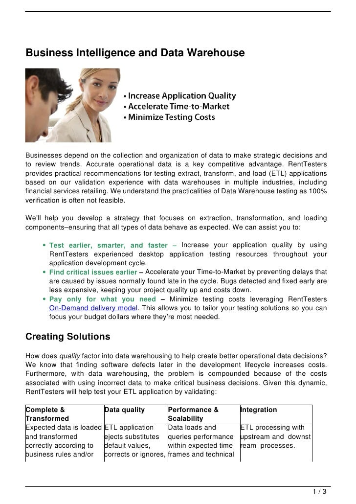 business intelligence data warehouse pdf