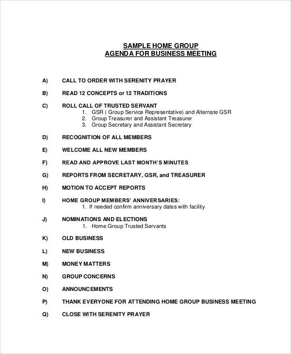 business meeting agenda sample word