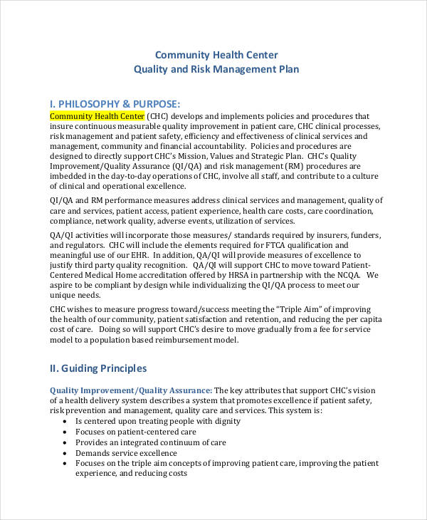 business risk management plan pdf