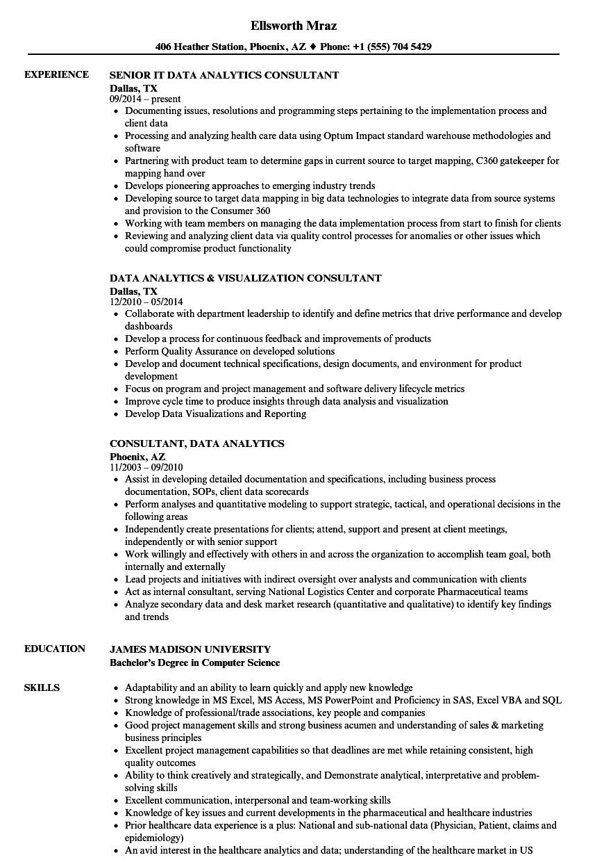 data analytics resume sample