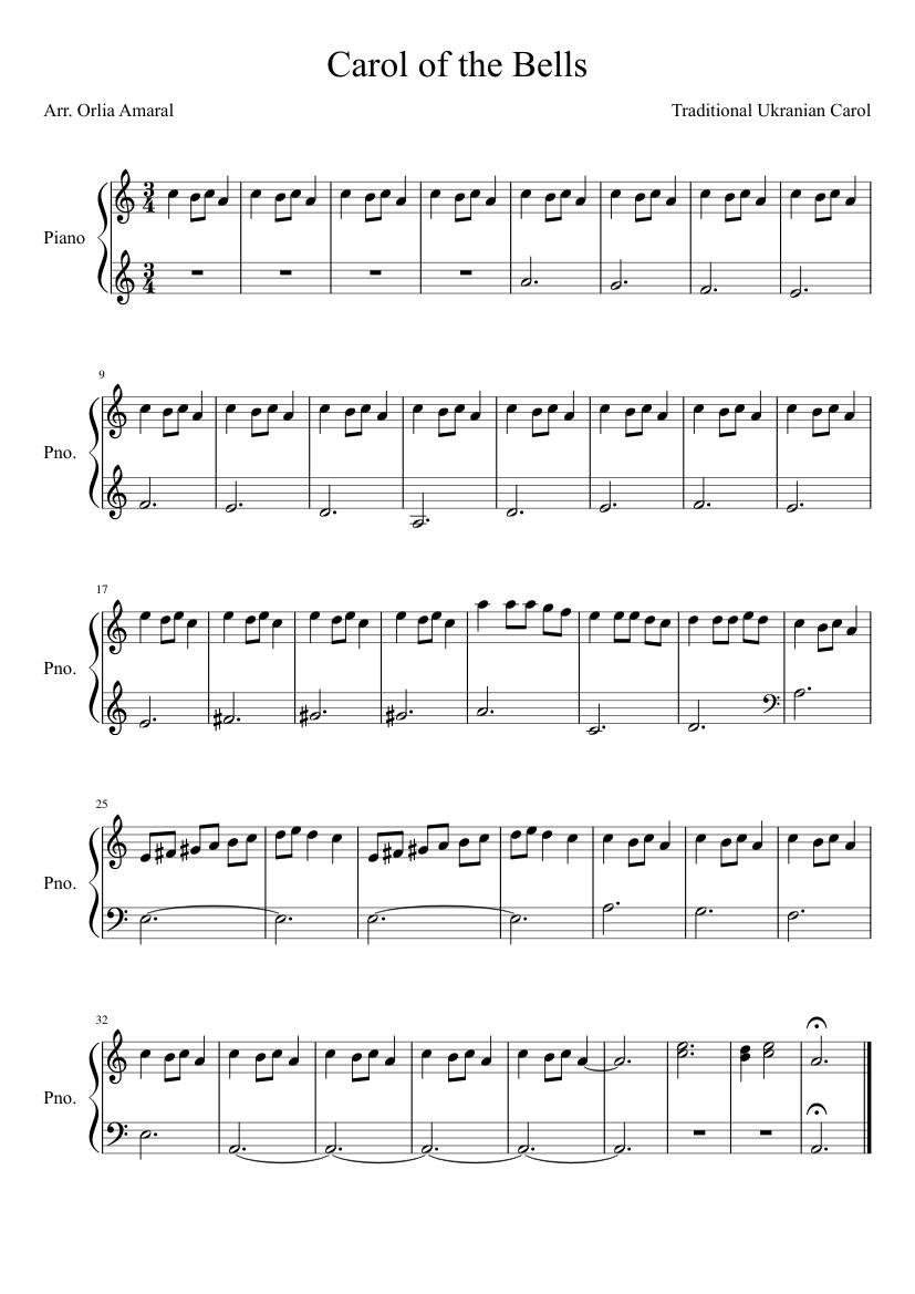carol of the bells piano pdf