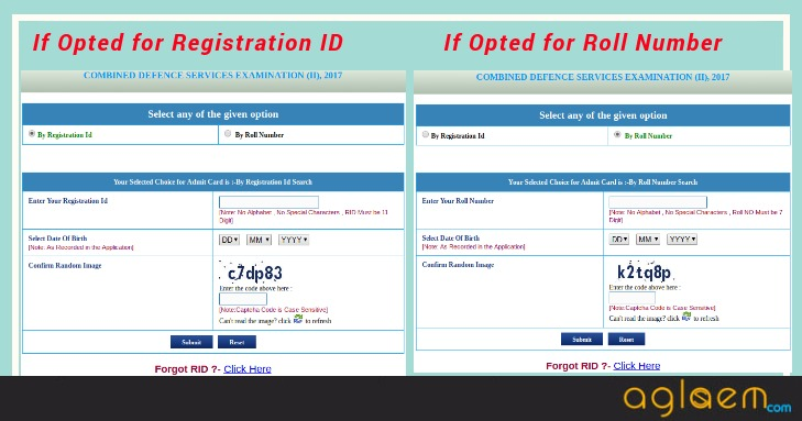 cds admit card instructions