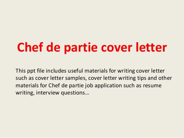 chef de partie cover letter sample