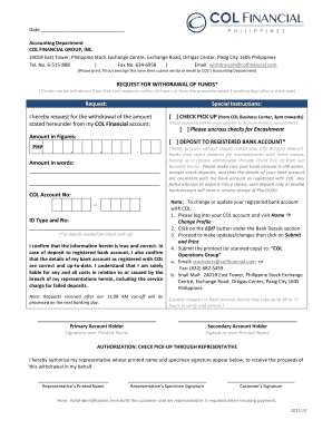 col financial form sample