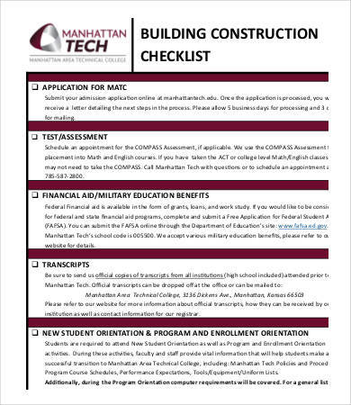 construction checklist sample