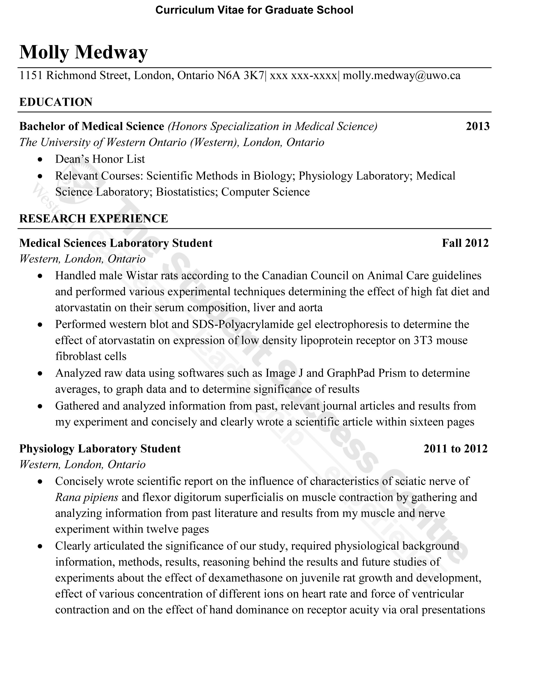 cv for masters application