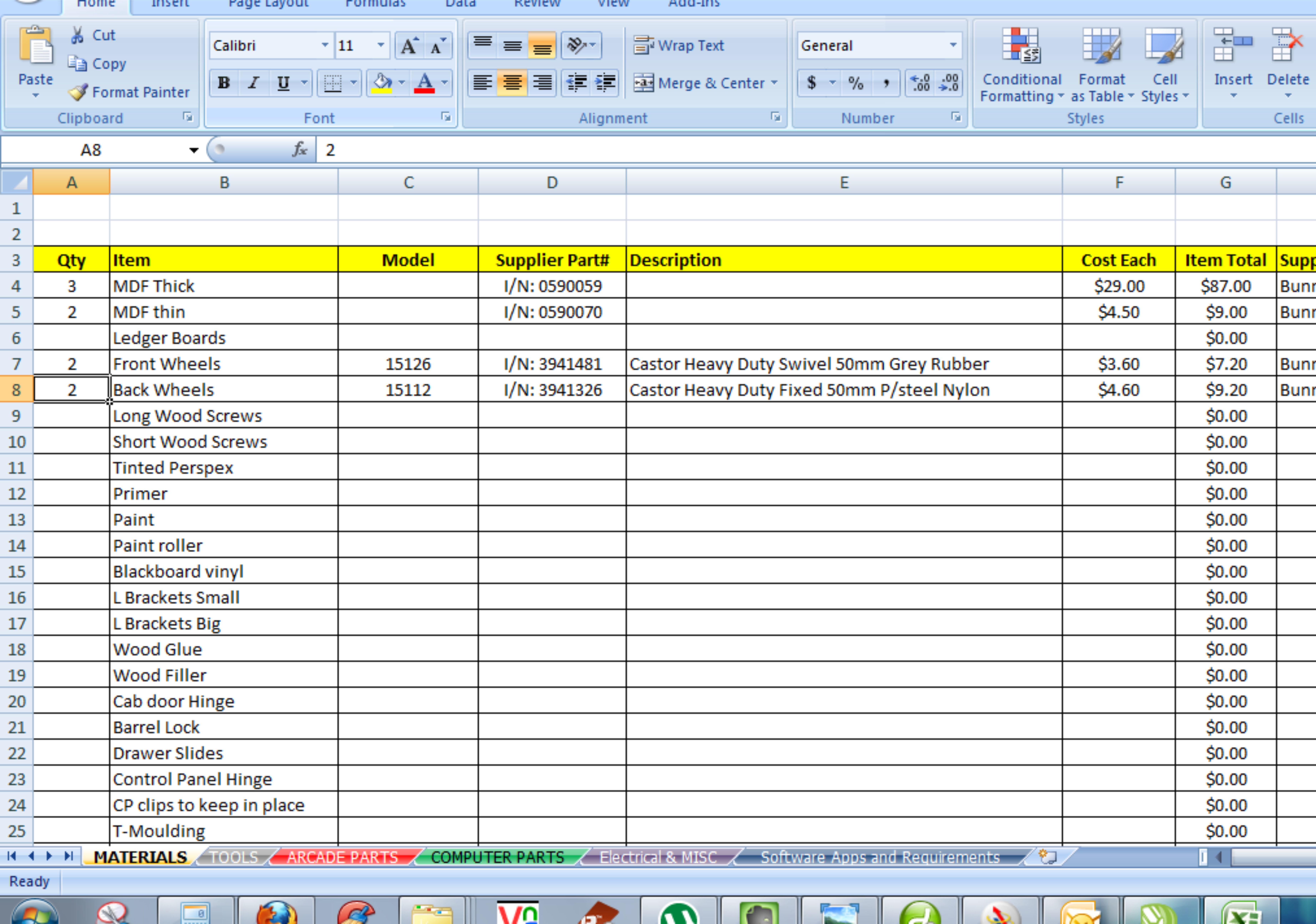 building materials list pdf