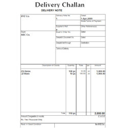 delivery challan book sample