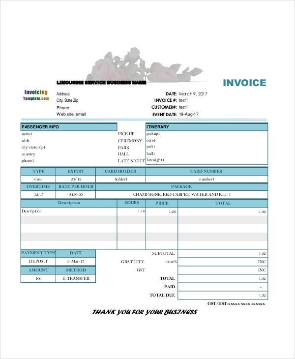 deposit invoice sample
