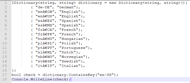 dictionary key exists c