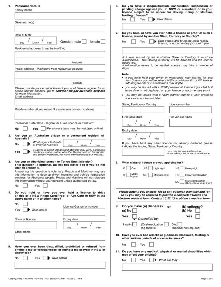 driving licence application form