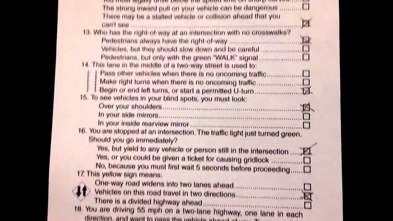 driving test questions and answers free pdf