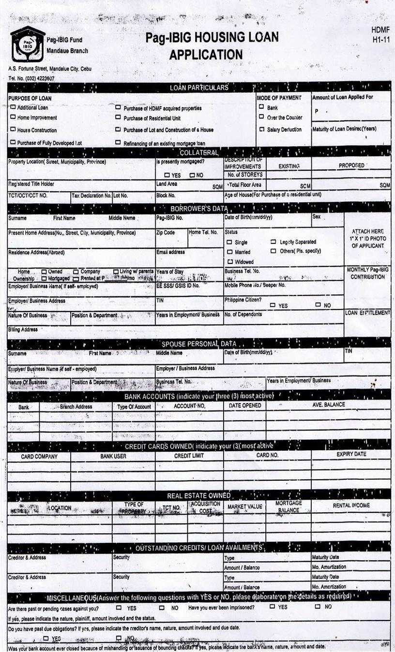bpi housing loan application form