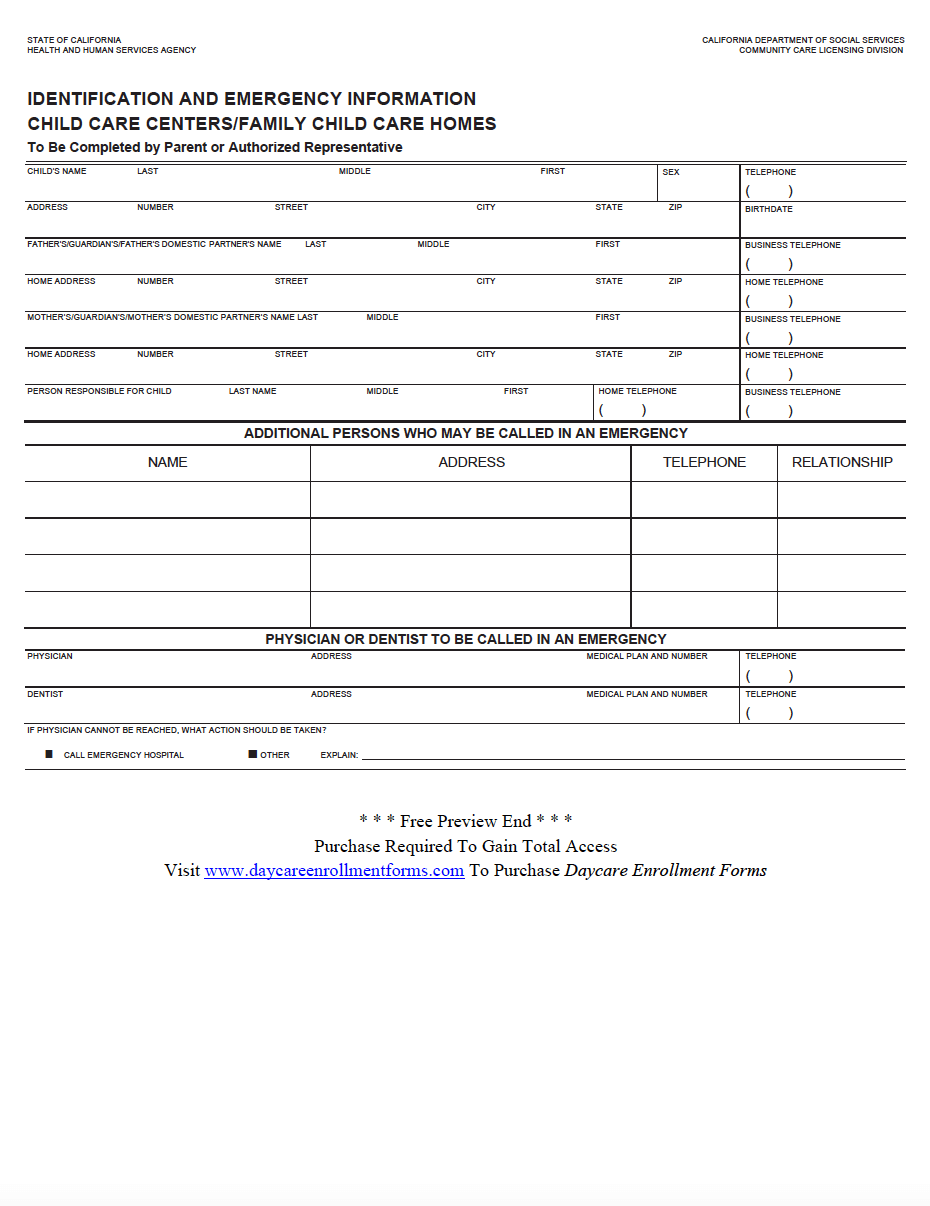 daycare enrollment application